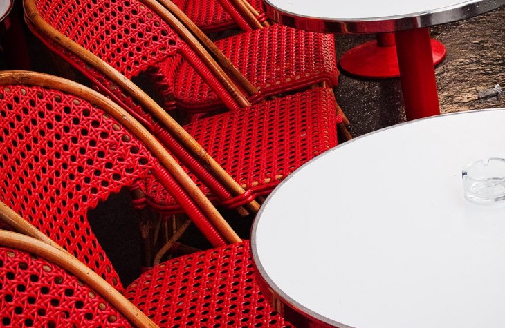 paris, red chairs, outdoor eating